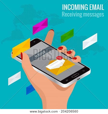 Woman received an e-mail online on a mobile phone. Message online Incoming email isometric vector concept Receiving messages