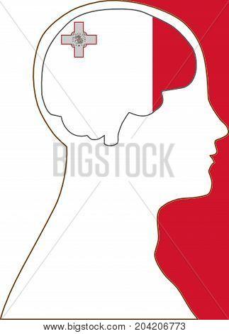 Malta in my mind illustration concept symbol