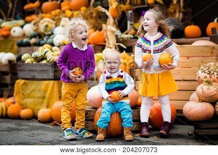 Kids Having Fun At Pumpkin Patch