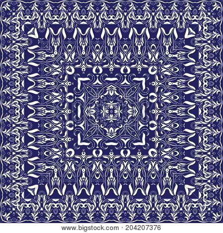 Ornament for scarf with white pattern on blue background. You can use for carpet, shawl, pillow, cushion. Vector illustration.