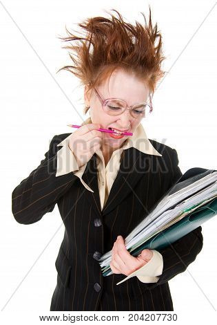 Stressed Crazy Businesswoman With  Stack Of Paperwork.