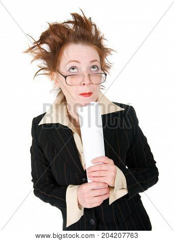 stressed crazy Business woman isolated on white