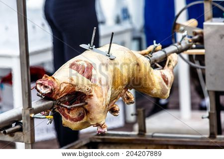 Whole lamb baked on a spit over the coals.