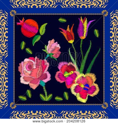 Silk scarf with bright fruits and flowers. Stylized embroidered texture. Vintage textile collection.
