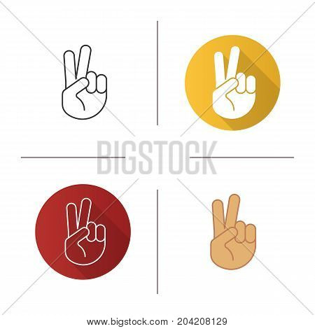 Peace hand gesture icon. Flat design, linear and color styles. Two fingers up. Isolated vector illustrations