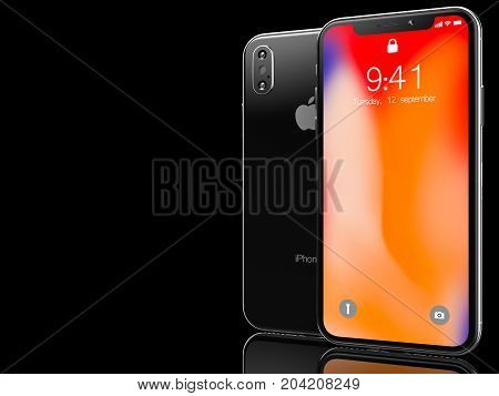 Ekaterinburg, Russia - 14 september: 3D Render of a black iPhone X with Apple Inc logo Illustrative Editorial Image, on a black background