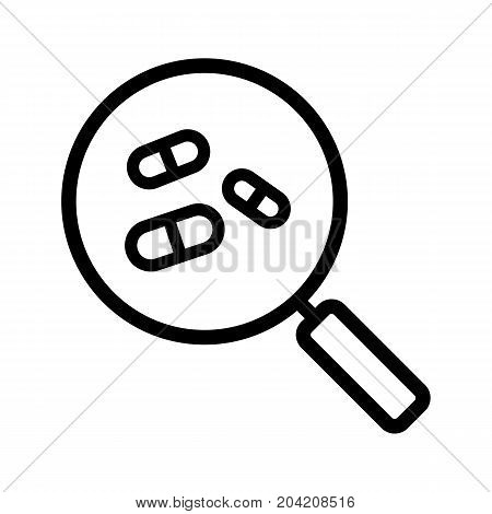 Drugstore and medicine search linear icon. Thick line illustration. Magnifying glass with pills. Pharmacy nearby contour symbol. Vector isolated outline drawing