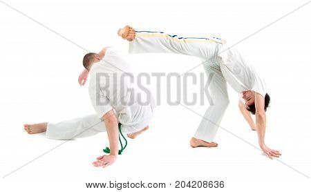 Contact Sport . Capoeira sport,.over white background