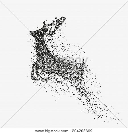 Running deer black particles divergent silhouette isolated on white background