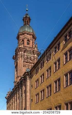 Tower of University church is the highest steeple in Wurzburg Germany