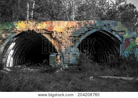 The old shelter military equipment, abandoned military unit.