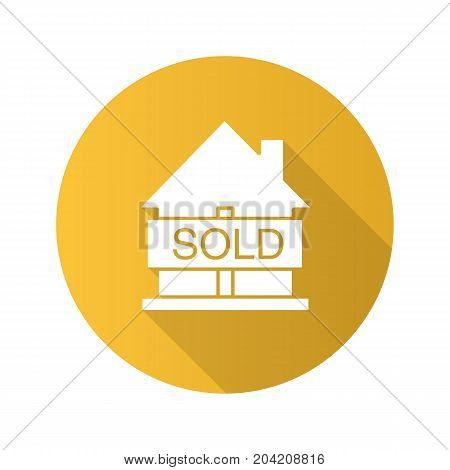 Sold house flat design long shadow glyph icon. Real estate purchase. House with sold sign. Vector silhouette illustration