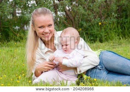 ma with tot meadow .l ucky family