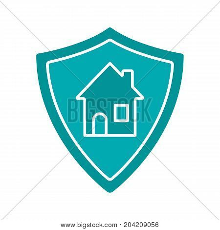 Real estate security glyph color icon. Protection shield with house. Silhouette symbol on white background. Negative space. Vector illustration