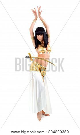 Bellydance Woman In Yellow Egypt Style.