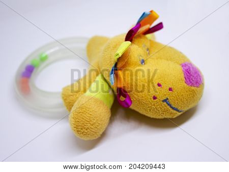 Plastic baby rattle for theething with dog's head