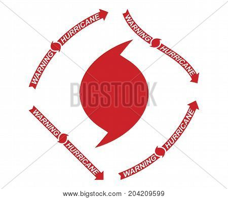 Warning Hurricane Red Symbol And Arrows On A White Background. Flat Vector Illustration Eps 10
