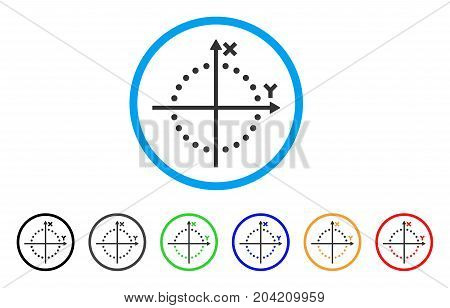 Circle Plot icon. Vector illustration style is a flat iconic circle plot grey rounded symbol inside light blue circle with black, gray, green, blue, red, orange color versions.