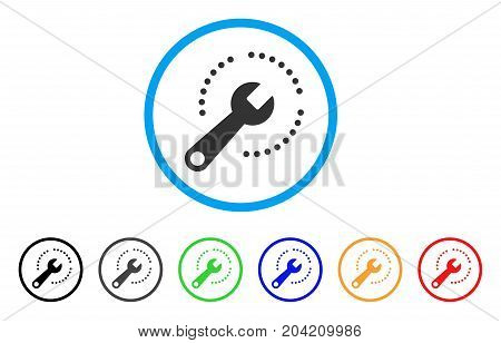 Configure Diagram icon. Vector illustration style is a flat iconic configure diagram gray rounded symbol inside light blue circle with black, gray, green, blue, red, orange color variants.