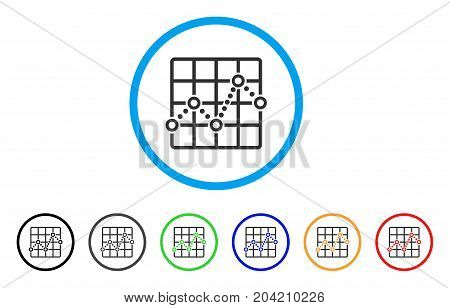 Line Plot icon. Vector illustration style is a flat iconic line plot grey rounded symbol inside light blue circle with black, gray, green, blue, red, orange color additional versions.