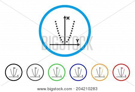 Parabole Plot icon. Vector illustration style is a flat iconic parabole plot grey rounded symbol inside light blue circle with black, gray, green, blue, red, orange color variants.