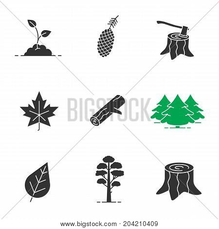Forestry glyph icons set. Silhouette symbols. Pine cone and tree, growing sprout, deforestation, stumps, fir forest, maple leaf, firewood. Vector isolated illustration