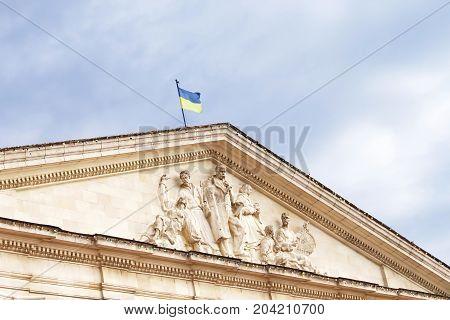 Top view of Chernihiv Regional Music and Drama Theater named after T. Shevchenko, Chernihiv, Ukraine