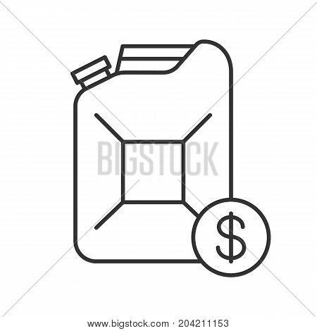 Petrol trade linear icon. Thin line illustration. Petroleum jerrycan with dollar sign. Contour symbol. Vector isolated outline drawing