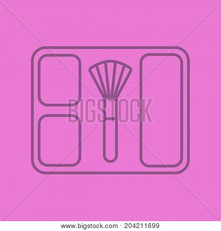 Blusher linear icon. Blusher box with brush. Thin line outline symbols on color background. Vector illustration