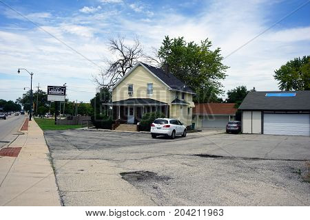 JOLIET, ILLINOIS / UNITED STATES - JULY 21, 2017: Victoria R. Breslan offers legal services from her law office on Plainfield Road.