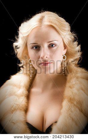 Sexy Model Wearing Winter Fur Coat