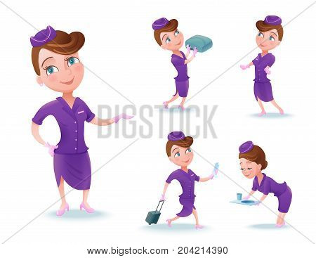 Stewardess cartoon character set, airline crew member, cute girl in violet uniform serving food, doing safety briefing, vector illustration