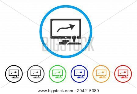 Path Control Monitor icon. Vector illustration style is a flat iconic path control monitor gray rounded symbol inside light blue circle with black, gray, green, blue, red,