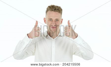 Rejcting Gesture By Young Businessman Isolated On White Background
