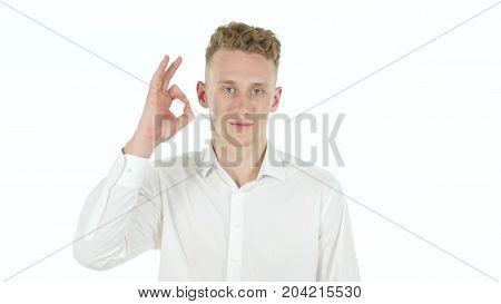Rejecting Offer, Denying Young Businessman Isolated On White Background