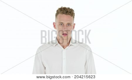 Frustrated Angry Man Isolated on White Background