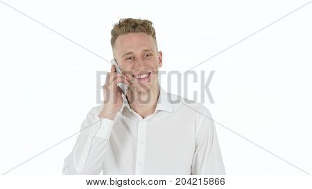 Shaking Head, No By Young Man On White Background