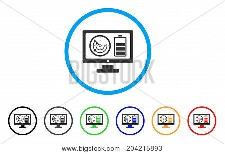 Radar Battery Control Monitor icon. Vector illustration style is a flat iconic radar battery control monitor gray rounded symbol inside light blue circle with black, gray, green, blue, red,