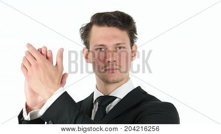 Clapping, Applauding Businessman Isolated On White Background