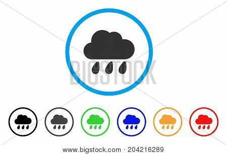 Rain Cloud icon. Vector illustration style is a flat iconic rain cloud grey rounded symbol inside light blue circle with black, gray, green, blue, red, orange color additional versions.