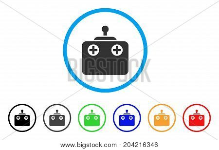 Remote Control icon. Vector illustration style is a flat iconic remote control grey rounded symbol inside light blue circle with black, gray, green, blue, red, orange color additional versions.