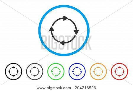 Rotation icon. Vector illustration style is a flat iconic rotation gray rounded symbol inside light blue circle with black, gray, green, blue, red, orange color variants.