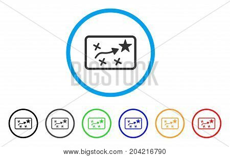 Route Plan icon. Vector illustration style is a flat iconic route plan gray rounded symbol inside light blue circle with black, gray, green, blue, red, orange color additional versions.