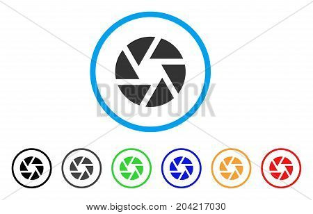 Shutter icon. Vector illustration style is a flat iconic shutter grey rounded symbol inside light blue circle with black, gray, green, blue, red, orange color variants.