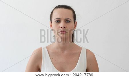 Angry Young Woman Arguing And Yelling Gesture, Portrait In Designer Office