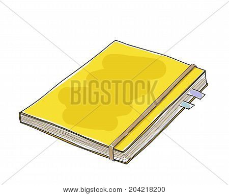 Yellow leather notebook hand drawn vector art illustration