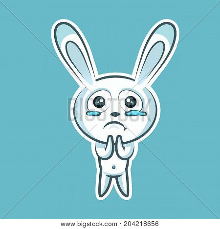 Sticker emoji emoticon, emotion beg, ask, pray, tears in eyes, vector illustration character sweet, cute white rabbit, bunny, hare, coney, cony, lapin for happy Easter mobile app