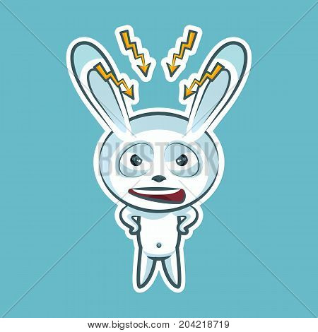Sticker emoji emoticon, emotion swear, angry, lightning, vector isolated illustration character sweet, cute white rabbit, bunny, hare, coney, cony, lapin for happy Easter mobile app