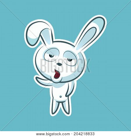 Sticker emoji emoticon, emotion, yawn, gape vector isolated illustration bored character sweet, cute white rabbit, bunny, hare, coney, cony, lapin for happy Easter mobile app