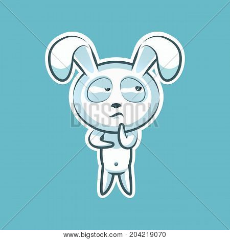 Sticker emoji emoticon emotion Hmm, doubt, thinking vector isolated illustration character sweet, cute white rabbit, bunny, hare, coney, cony, lapin for happy Easter mobile app